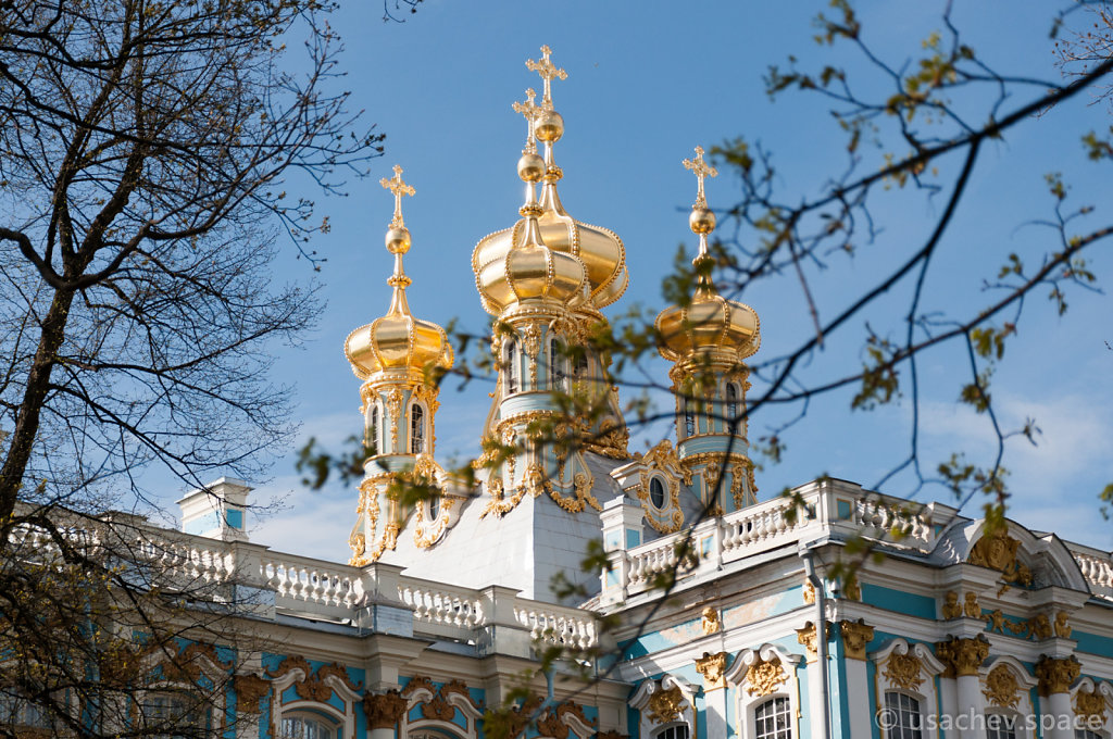 View of Domes of the House Church at Catherine Palace
